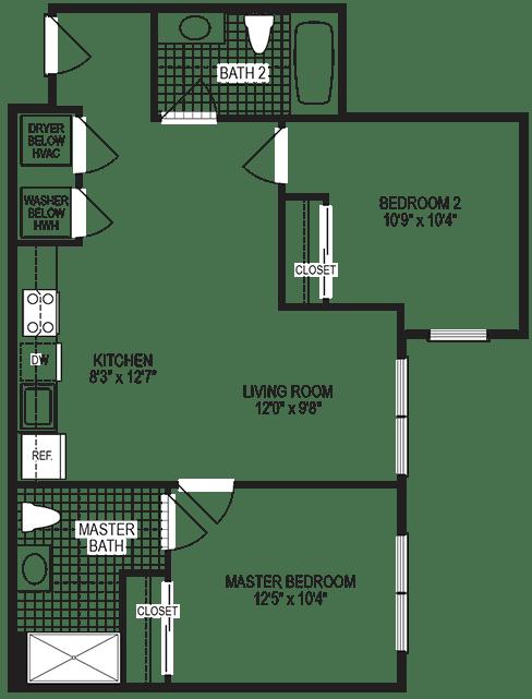 Celcius 2 Bedroom Floorplan