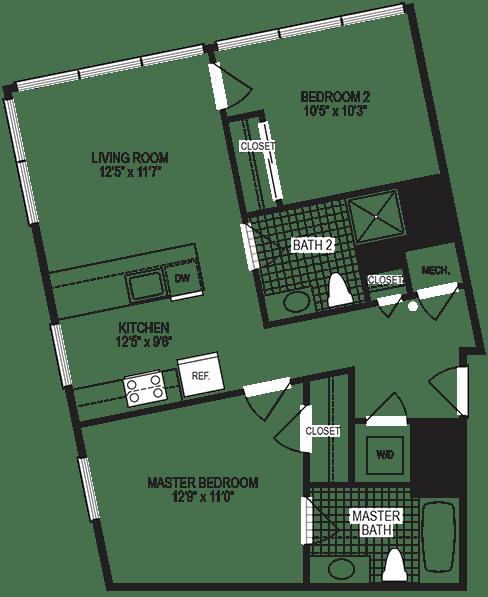 Kelvin 2 Bedroom Floorplan