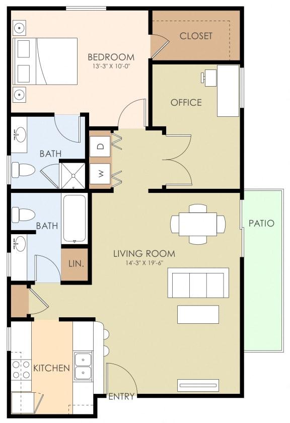 Floor Plan  2 Bed 2 Bath Floor Plan at 720 North Apartments, Sunnyvale, California