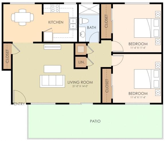 2 Bedroom 1 Bathroom Floor Plan at 720 North Apartments, Sunnyvale, 94085