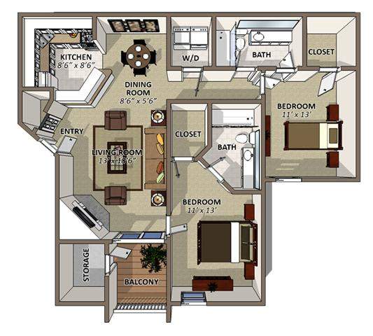 Floor Plan  The Magnolia Floor Plan at Sawgrass Apartments in Orlando FL