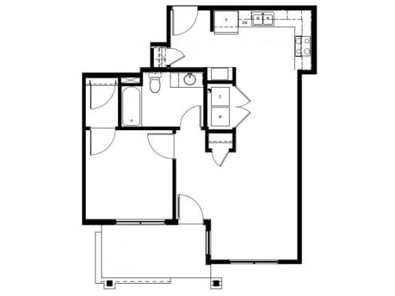 Capitol Yard Apartments_ West Sacramento CA_Floor Plan_One Bedroom One Bathroom A1