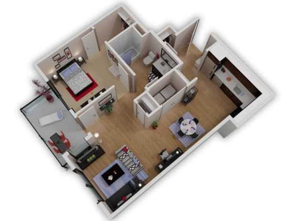 Floor Plan  Capitol Yard Apartments_ West Sacramento CA_Floor Plan_One Bedroom One Bathroom A1