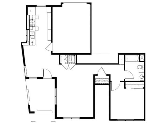 Capitol Yard Apartments_ West Sacramento CA_Floor Plan_One Bedroom One Bathroom A2