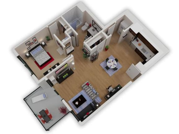 Floor Plan  Capitol Yard Apartments_ West Sacramento CA_Floor Plan_One Bedroom One Bathroom A6