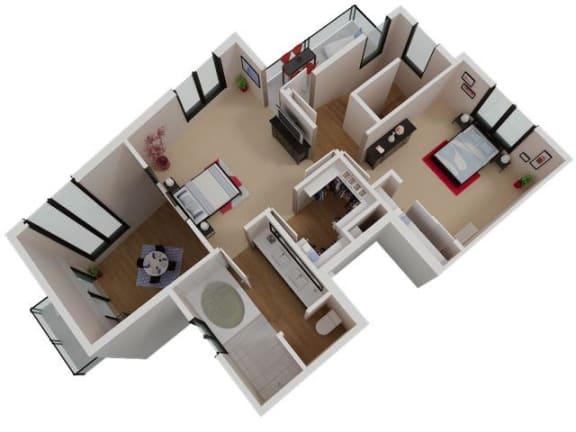 Capitol Yard Apartments_ West Sacramento CA_Floor Plan_Three Bedroom Two Bathroom C2 Second Floor