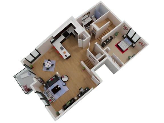 Floor Plan  Capitol Yard Apartments_ West Sacramento CA_Floor Plan_Three Bedroom Two Bathroom C2