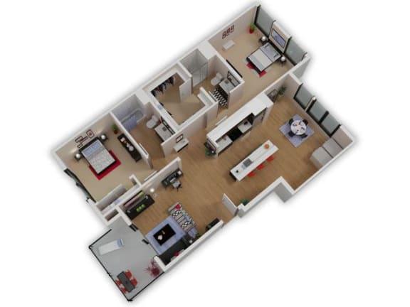 Floor Plan  Capitol Yard Apartments_ West Sacramento CA_Floor Plan_Two Bedroom Two Bathroom B2