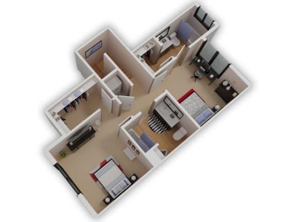 Capitol Yard Apartments_ West Sacramento CA_Floor Plan_Two Bedroom Two Bathroom B3 Floor 2