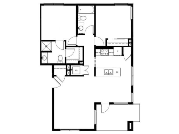 Capitol Yard Apartments_ West Sacramento CA_Floor Plan_Two Bedroom Two Bathroom B4