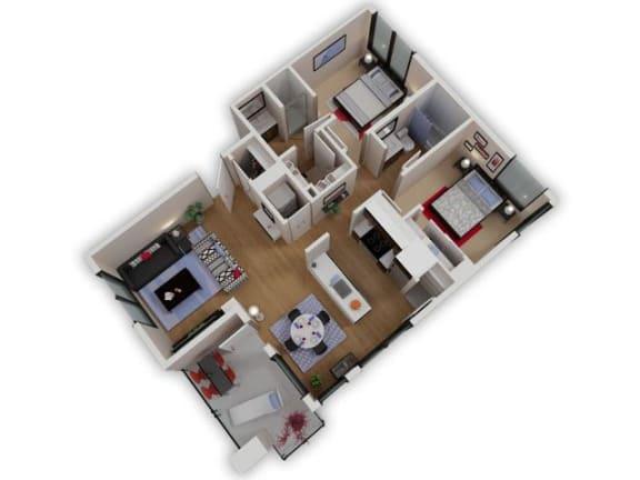 Floor Plan  Capitol Yard Apartments_ West Sacramento CA_Floor Plan_Two Bedroom Two Bathroom B4