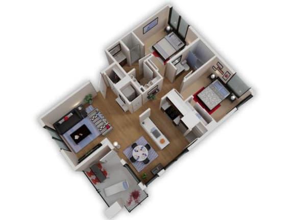 Floor Plan  Capitol Yard Apartments_ West Sacramento CA_Floor Plan_Two Bedroom Two Bathroom B5