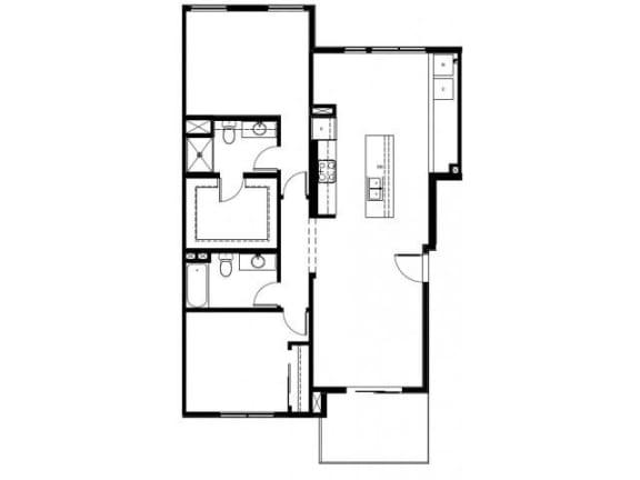 Capitol Yard Apartments_ West Sacramento CA_Floor Plan_Two Bedroom Two Bathroom B9