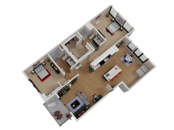 Floor Plan  Capitol Yard Apartments_ West Sacramento CA_Floor Plan_Two Bedroom Two Bathroom B9