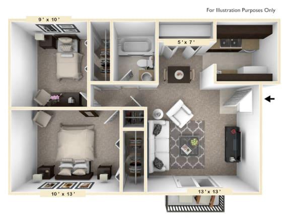 The Chateau - 2 BR 1 BA Floor Plan at Bavarian Village Apartments, Indiana