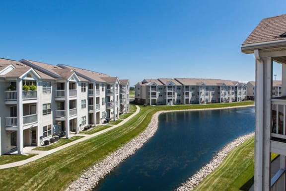 Private Lakeside Balconies and Patios at Mallard Bay Apartments, Crown Point 46307