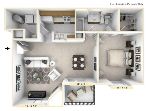 The Amherst - 1 BR 1 BA Floor Plan at Pheasant Run, Lafayette, IN, 47909