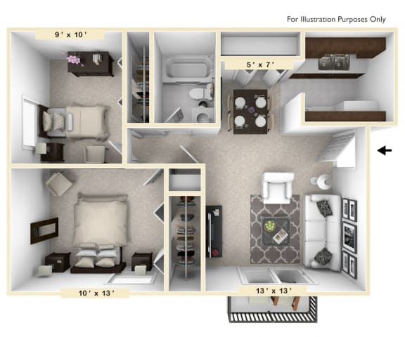 The Dove - 2 BR 1 BA Floor Plan at Pheasant Run, Lafayette, 47909