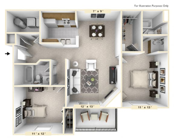 The Golden - 2 BR 2 BA Floor Plan at Pheasant Run, Lafayette, Indiana