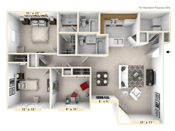 The Retreat - 3 BR 2 BA Floor Plan at Pheasant Run, Lafayette