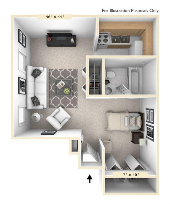 The Retriever Studio Floor Plan at Pheasant Run, Lafayette