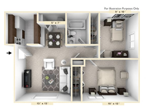 The Sportsman - 2 BR 1 BA Floor Plan at Pheasant Run, Lafayette, IN