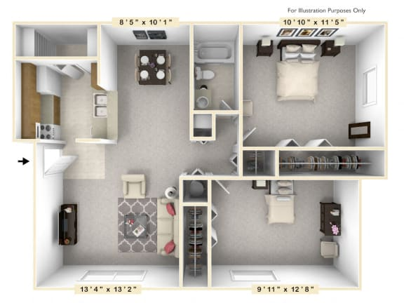 The Day Sailor - 2 BR 1 BA Floor Plan at Scarborough Lake Apartments, Indianapolis, IN, 46254