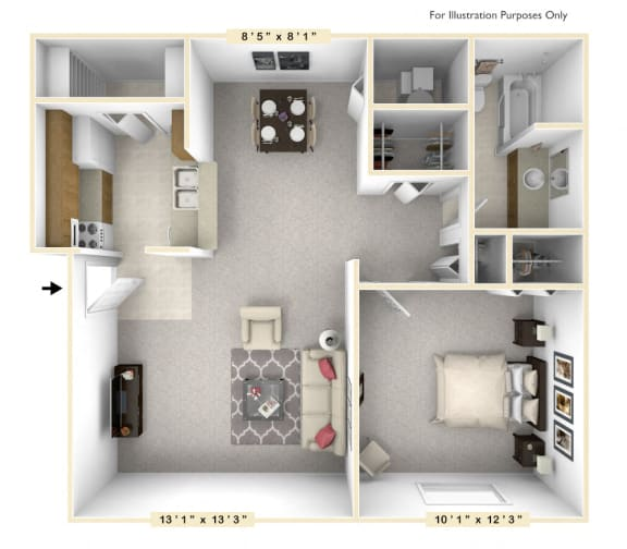 The Dry Dock - 1 BR 1 BA Floor Plan at Scarborough Lake Apartments, Indianapolis, 46254