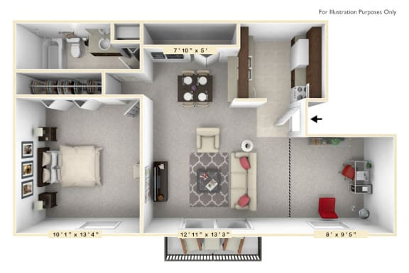 The Sunset - 1 BR 1 BA Floor Plan at Scarborough Lake Apartments, Indiana