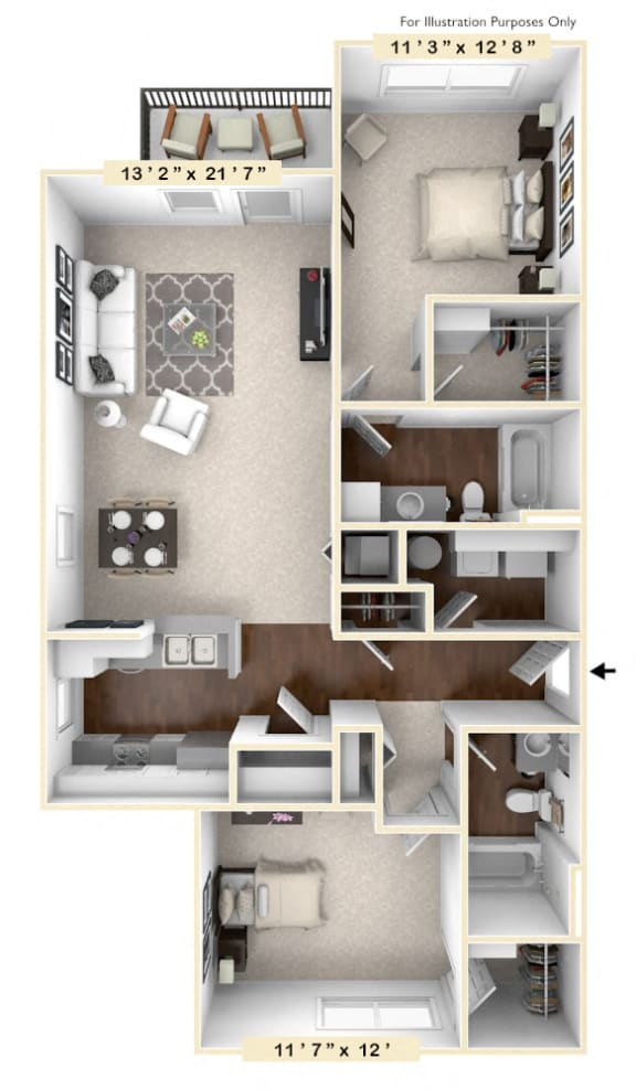 The Richmond - 2 BR 2 BA Floor Plan at River Crossing Apartments, St. Charles, MO, 63303