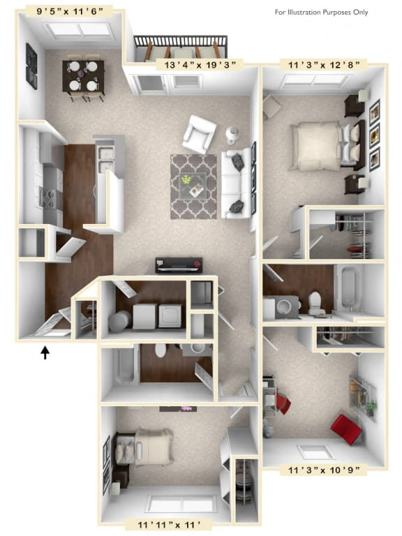 The Waverly - 3 BR 2 BA Floor Plan at River Crossing Apartments, St. Charles, MO