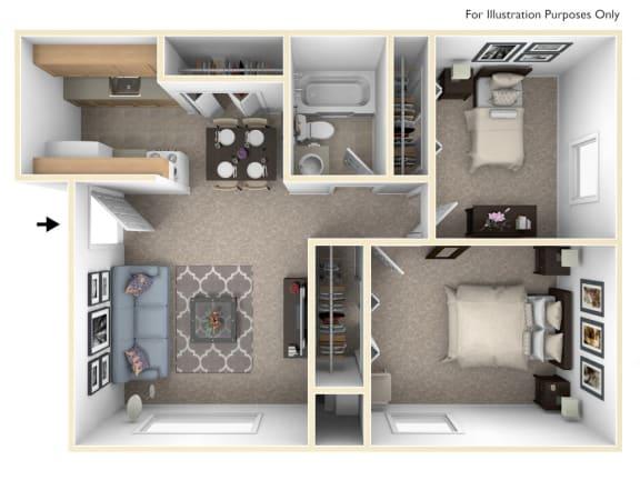 Standard Two Bedroom Floor Plan at Apple Ridge Apartments, Michigan