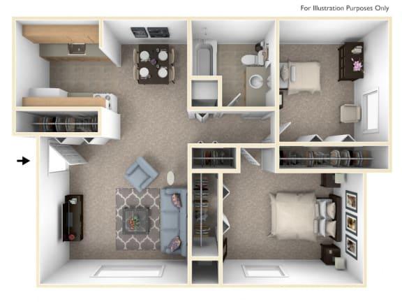 Two Bedroom Deluxe Floor Plan at Apple Ridge Apartments, Michigan, 49534