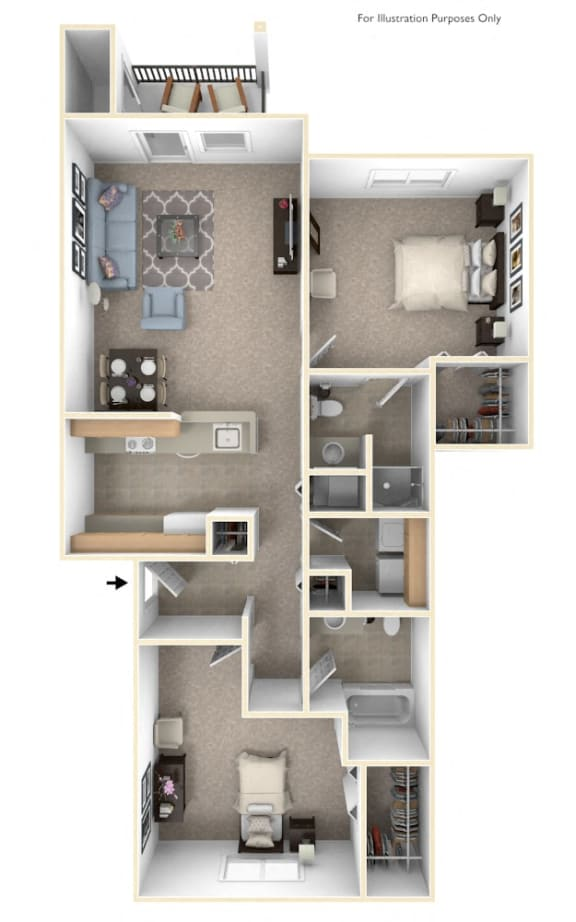 2 Bed 2 Bath Traditional Two Bedroom Floor Plan at Black Sand Apartment Homes, Lincoln