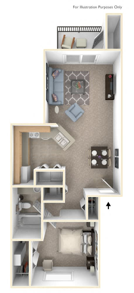 1 Bed 1 Bath Traditional One Bedroom Floor Plan at Byron Lakes Apartments, Byron Center, MI