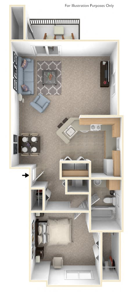 One Bedroom End Floor Plan at Canal 2 Apartments, Lansing, Michigan