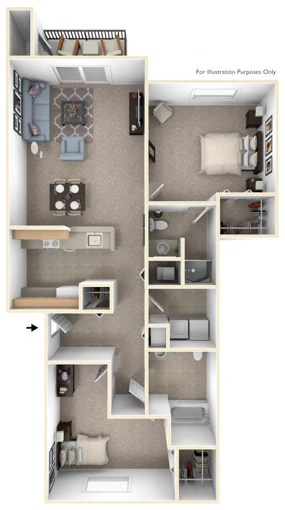 Two Bedroom Floor Plan at Canal 2 Apartments, Lansing