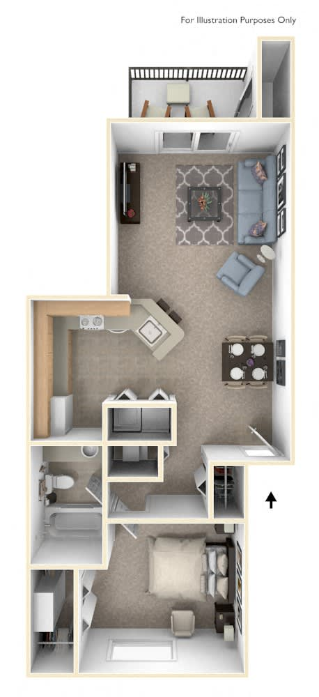 One Bedroom One Bath Floor Plan at Canal Club Apartments, Lansing, MI