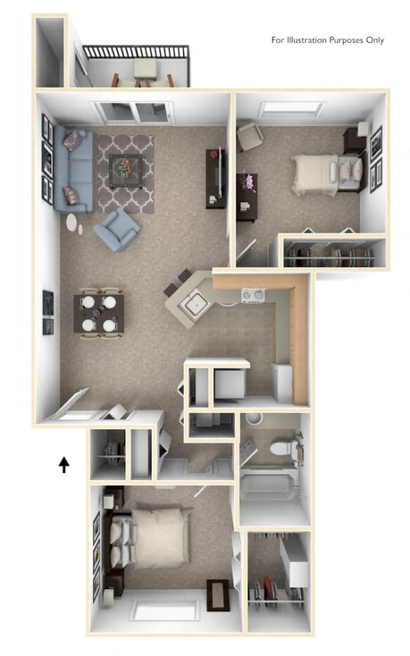 Two Bedroom One Bath Floor Plan at Canal Club Apartments, Lansing, 48917