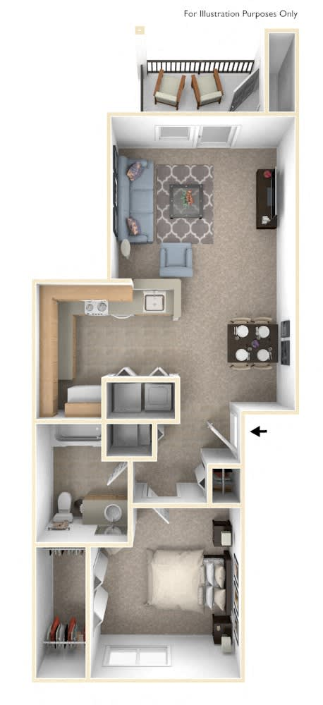 One Bedroom One Bath - Bridge Floorplan at Colonial Pointe at Fairview Apartments, Bellevue