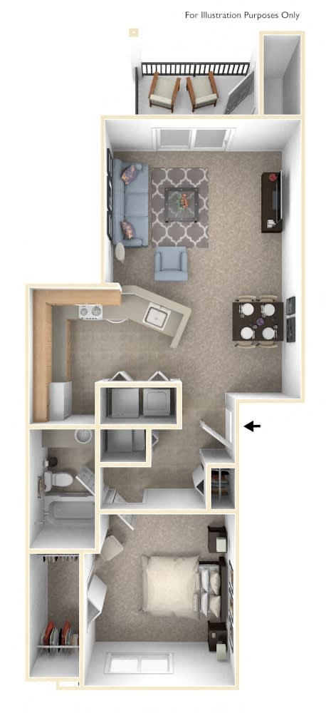 One Bedroom One Bath Floorplan at Colonial Pointe at Fairview Apartments, Nebraska