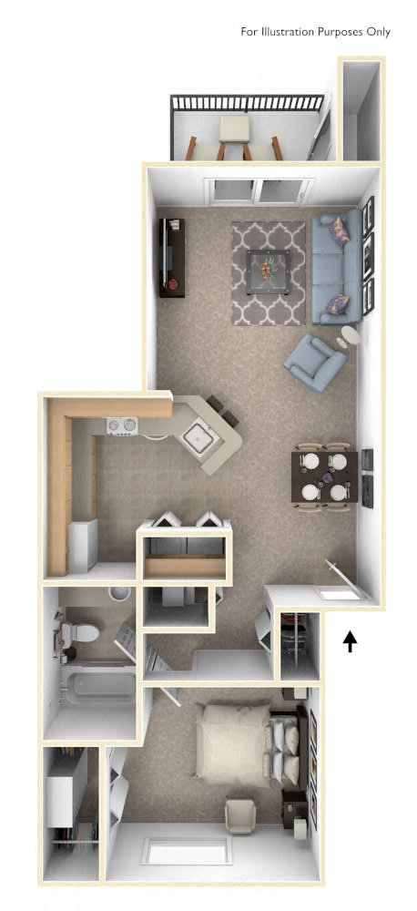 One Bedroom, One Bath Floor Plan at The Crossings Apartments, Grand Rapids, MI, 49508