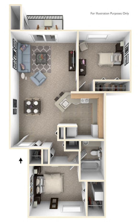 Two Bedroom, One Bath Floor Plan at The Crossings Apartments, Grand Rapids, MI