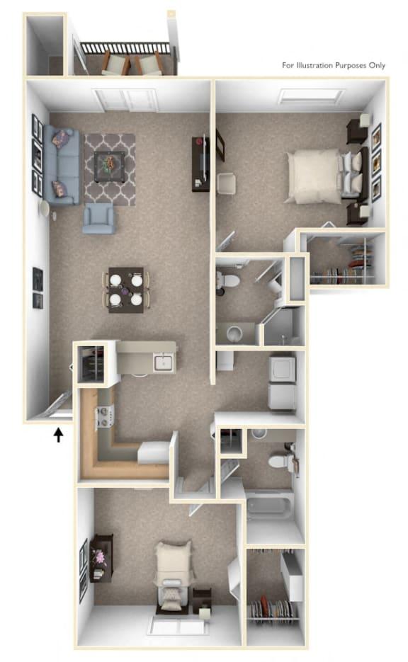 Two Bedroom Two Bath Floorplan at Dupont Lakes Apartments, Fort Wayne, 46825