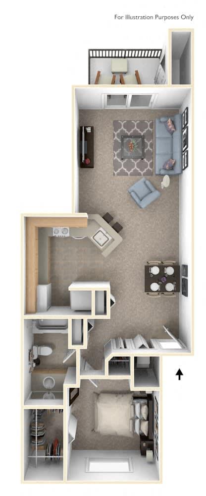 One Bedroom One Bath Floorplan at Emerald Park Apartments, Kalamazoo, Michigan
