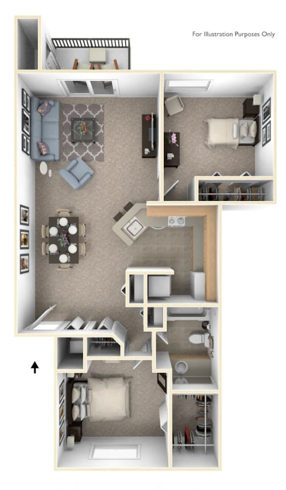 Two Bedroom Two Bath Floorplan at Emerald Park Apartments, Kalamazoo