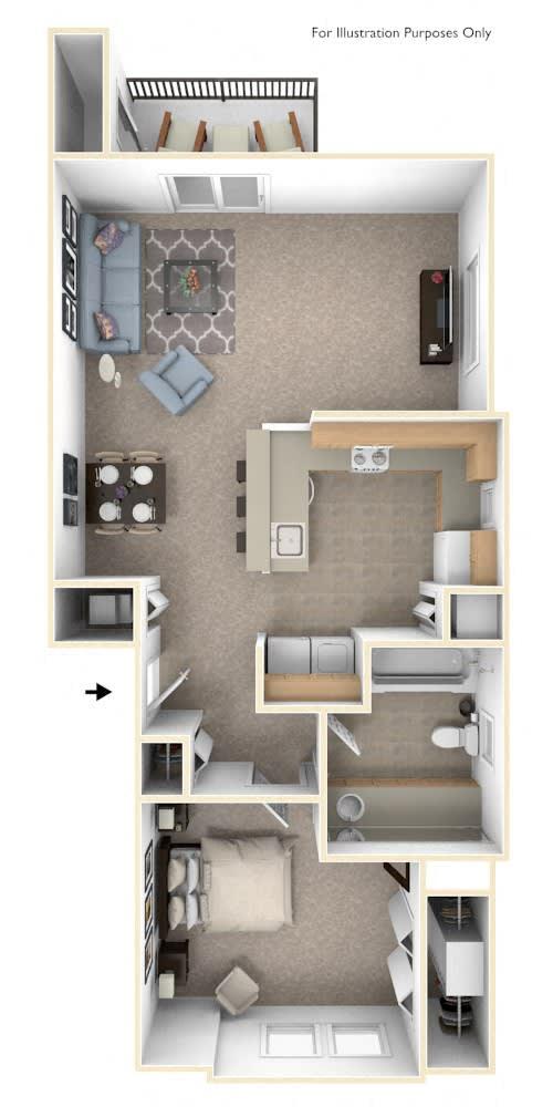 One Bedroom One Bath End Floorplan at Fieldstream Apartment Homes, Ankeny, IA, 50023