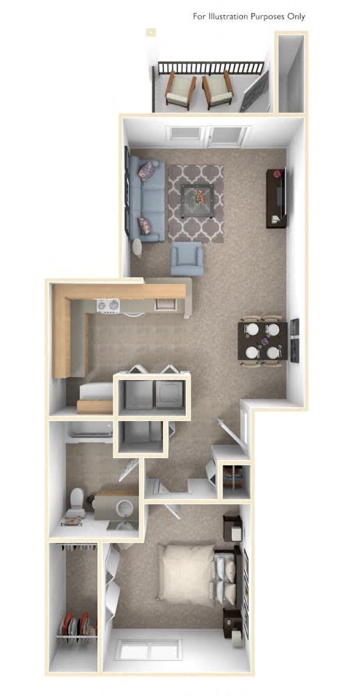 One Bedroom One Bath Floorplan at Fieldstream Apartment Homes, Iowa