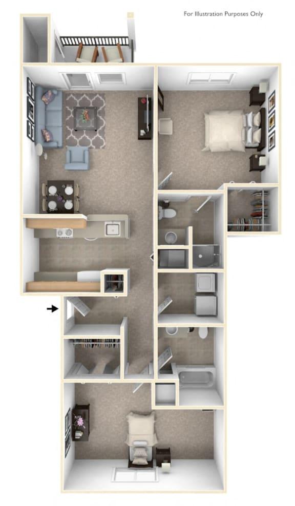 Two Bedroom Two Bath Floorplan at Fieldstream Apartment Homes, Iowa, 50023