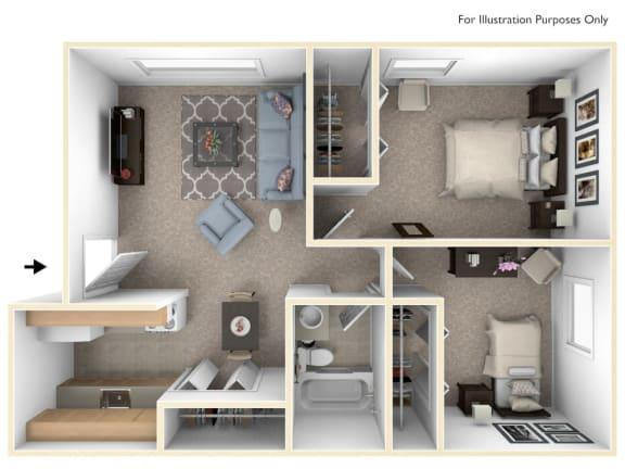 Two Bedroom One Bath Floorplan at Granada Apartments, Jackson, 49202